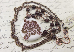 Rose marble pendant necklace (Terra Rustica Design) Tags: etched flower art nature rose stone garden design necklace beads handmade jewelry chain copper handcrafted etch pendant copperwire garnet sandblast nontoxic oxidized sandblasted copperchain sandcarve nontoxicpaint terrarusticadesign