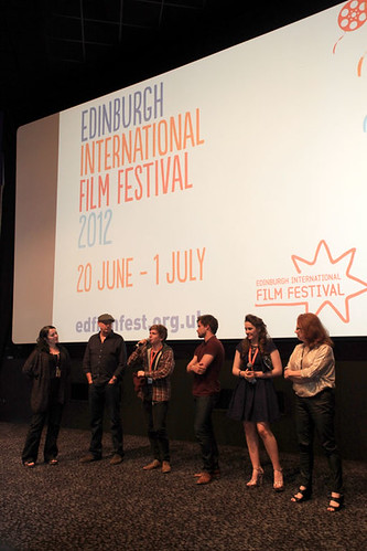 Diane Henderson with Melanie Hill, Madeleine Clark, Harry McEntire and Christian Cooke after the screening of Unconditional at the Cineworld