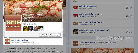 Hover card for Facebook pages shows information