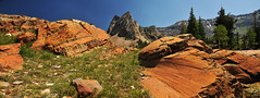 Sundial peak glacial grooves in red stones (houstonryan) Tags: county flowers lake art june 30 print photography utah big rocks photographer ryan hiking salt houston twin peak canyon hike sundial photograph cottonwood area wilderness peaks blanche 2012 houstonryan