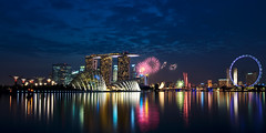 Fireworks season begin! (hock how & siew peng) Tags: city panorama flyer nikon singapore cityscape fireworks ndp hh bluehour cr 2012 mbs marinabay nationaldayparade gardensbythebay singaporeflyer marinabaysands d700 hockhow hhsp hockhowsiewpeng combinedrehearsal wwwhockhowcom