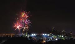Stars and Stripes over Dodger Stadium (Pixamundo) Tags: california losangeles nikon skyscrapers baseball fireworks dtla dodgers d700 discoverla pixamundo