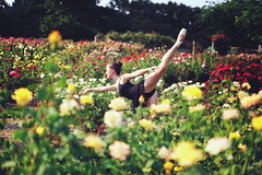Ballerina (Danielle Pearce) Tags: red roses ballet girl yellow canon garden ballerina pretty mark ii 5d arabesque