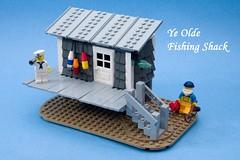 Ye Olde Fishing Shack (ted @ndes) Tags: fisherman lego shingles shed system hut cedar shack sailor siding vignette