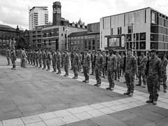 P1020287-1 1st Battallion The Yorkshire Regiment. March in Leeds uk. (Lawrence Holmes.) Tags: uk west army lumix 1st yorkshire leeds band police mounted soldiers g2 pancake brass regiment the battalion 14mm 1yorks
