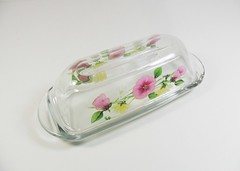 Butter Dish Hand Painted Pink Yellow Flowers (Painting by Elaine) Tags: pink flowers kitchen glass yellow painted handpainted butterdish glassware kitchenware paintedglass handpaintedglass handpainteddish paintedbutterdish paintingbyelaine