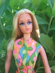 Amelia & Sedum (Foxy Belle) Tags: plant flower nature vintage garden outside moving mod doll action live barbie free blonde sedum perennial