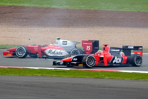 Max Chilton's Marussia GP2 car spinning at Silverstone