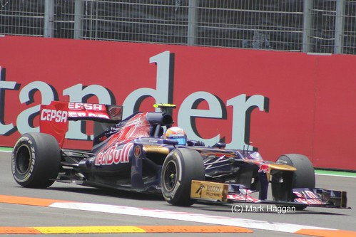 Jean-Eric Vergne in his Toro Rosso F1 car at the 2012 European Grand Prix at Valencia
