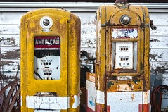 dual fuel (Sky Noir) Tags: old usa vintage photography us unitedstatesofamerica rusty retro gas pump faded american transportation oil nostalgic americana antiques dual artifact past crusty petro fuel gaspump amaco relic picker petroliana dualfuel gasstationpumps