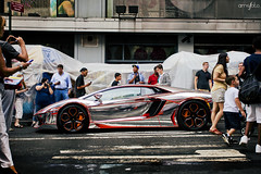 Chrome Wrapped Aventador Side (Anthony Stone - amsfoto) Tags: new city nyc square bull exotic chrome
