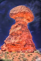 HDR Nuclear Balanced Rock (Inanimate Carbon Rod) Tags: park cloud 3 mushroom rock photoshop canon utah high ut arch dynamic natural creative arches national adobe suite range hdr balanced xsi cs3 photomatix