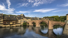 Le Vieux Pont (CrOS Photographie) Tags: bridge sky panorama france reflection colors architecture river couleurs pano lot rivire reflet ciel pont stitched olt aveyron midipyrnes espalion colorphotoaward