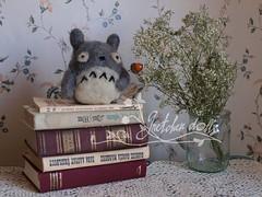 Needle felted Totoro (Gretchen Dolls) Tags: totoro needlefelt needlefelted felt felted handmade books winter gretchendolls
