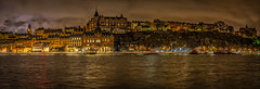 Stockholm Pano (RickybanPhotography) Tags: stockholm night water architecture buildings clouds sweden soder sodermalm