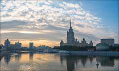 "Russia. Moscow. Hotel Radisson ""Ukraine"". (Yuri Degtyarev) Tags: moscow hotel radisson ukraine river russia russian federation           morning stalinist skyscraper skysrapers seven sisters     water skyline city outdoor architecture building leica x2 ngc"