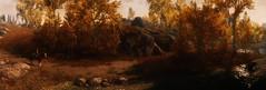 Golden Season (~Scimo~) Tags: skyrim screenshot landscape autumn trees panorama horse fantasy