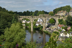 River Nidd, Knaresbrough (Colin McLurg) Tags: knaresbrough uk england northyorkshire colinmclurg rivernidd railway viaduct rowingboat summer trees arches countryside