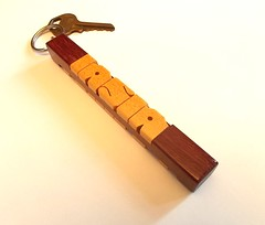 Two-Sided Name Keychain in Purpleheart and Pau Amarello Woods (DustyNewt Scott) Tags: wood wooden woodworking personal personalized name keychain handmade custom madetoorder fob keyfob letters dustynewt purpleheart pauamarello 2 sided iasia aquilla
