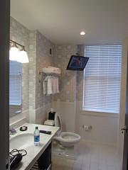 The Bathroom TV in My Room at the Sheraton Columbia -- Columbia, SC, September 3, 2016 (baseballoogie) Tags: 090316 baseball16 canonpowershotsx30is columbia sc southcarolina hotel room hotelroom sheraton