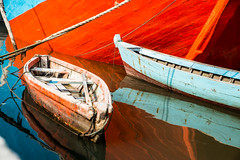 Variations of Blue and Orange-DSC_8735 (thomschphotography3) Tags: jakarta boats ships water harbour asia indonesia colours colourful orange blue reflections red green sundakelapa port