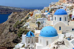 Blue Domes (Ron Scubadiver's Wild Life) Tags: urban landscape architecture oia santorini greece nikon sea cliffs 24120 church