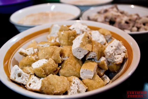 Tokwa or tofu side dish for lugaw
