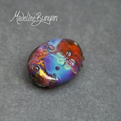 "Amber Garden, flowers, Swirls Lampwork Focal Bead • <a style=""font-size:0.8em;"" href=""https://www.flickr.com/photos/37516896@N05/7129395073/"" target=""_blank"">View on Flickr</a>"