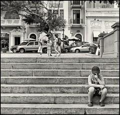 Niño Solitario (Lonely Boy) (Samy Collazo) Tags: boy bw stairs kodak puertorico trix pb bn sanjuan kodaktrix lonely soledad niño escaleras plazacolon yashicamat124g lightroom3 silverefexpro2 yashinon80mmf38