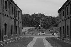 Maizuru Red Brick Warehouse Park (8) (double-h) Tags: monochrome warehouses maizuru  maizururedbrickwarehouse