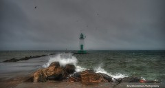 port dalhousie lighthouse in a storm (Rex Montalban Photography) Tags: lighthouse storm waves seagull niagara stcatharines hdr spash portdalhousie hss rexmontalbanphotography sliderssunday