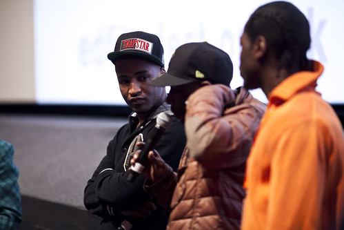 Dylan Duffus and Shabba from the One Mile Away cast after an Education screening at Cineworld