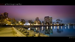 Seaport Village (Mark Arica) Tags: ocean water colors night boat downtown sandiego horizon wide hue seaportvillage saturate