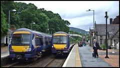 The Wait Is Over. (Kingfisher 24) Tags: station scotland footbridge travellers perthshire platform scotrail lamps pitlochry class170 turbostars