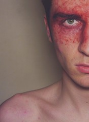 (AdamShiel) Tags: portrait england music selfportrait green eye halloween me face by contrast self mouth nose photography blood eyes paint inspired creepy spooky burn burns angry features scab cocorosie splat feverray iamamiwhoami adamshiel