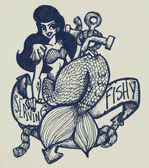 Serving Fishy Realness (Italo Figueiredo) Tags: illustration vintage anchor mermaid