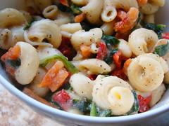 Spinach Pasta Salad (Vegan Feast Catering) Tags: dinner vegan herbs spice pasta carrot vinegar spinach evoo redroastedpepper