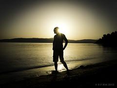 Shadow Man Hipster (S F KITT) Tags: sunset shadow sea vacation sun holiday man beach water silhouette standing splash