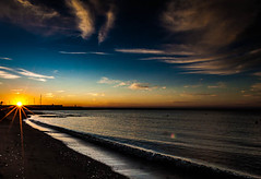 Dawn (Steve-h) Tags: blue sea sky orange sun sunlight black art tourism