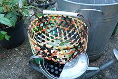 Basket made from recycled plastic ties (karenblakeman) Tags: uk reading basket july barbecue recycling 2012 ttr plasticties transitiontown transitiontownreading