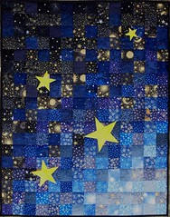 Weight of the World (Sampaguita Quilts) Tags: blue original sunset black night silver stars gold star stash quilt metallic sparkle quilting gradient fiberart patchwork applique commission homedecor celestial weighted sensory fibreart lapquilt polypellets sampaguitaquilts