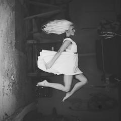 Levitation pt. 1 (kristineheart) Tags: white girl norway flying amazing dress garage magic floating levitation nymph
