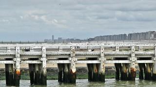 Staketsel en Skyline van Nieuwpoort tot Oostende - Pier and Skyline from Nieuwpoort to Ostend