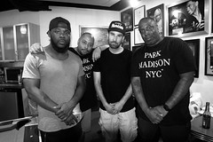 From my Hood to Yours (BW) (Brotha Kristufar) Tags: wide angle canon indoor indoors studio engine room podcast discussion central park 5 santana nyc new york harlem brooklyn bronx uptown hood real men entertainment moguls brothers from another monochrome group shot portraits madison clothing premium pete miss lissa knows tax taxstone season recording taping filming for cultural purposes