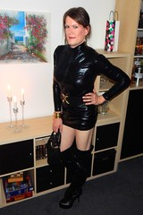 For the fans of fetish clothing (Rikky_Satin) Tags: crossdresser transgender transvestite thigh high boots shiny lycra dress feminization dominant gurl tgirl leather pvc