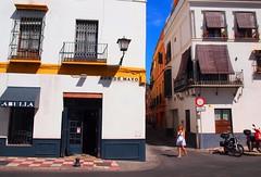 Seville - girl in a white dress. (JohnVenice) Tags: seville spain girl whitedress andalusia labulla restaurant blonde espana spanish sevilla