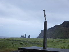 Voyage artwork uniting England with Iceland in Vik (Travel writer at KristineKStevens.com) Tags: iceland sculpture rocketman coastalliving
