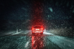 Following Darkness (cfprodpic) Tags: car road night snow rain thunder storm light headlight photography abstract photomanipulation amazing viewbehind vehicle