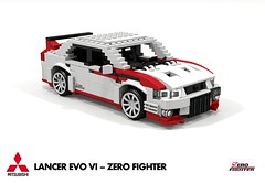Mitsubishi Lancer EVO VI - Zero Fighter Edition (lego911) Tags: mitsubishi lancer evo vi evolution zero fighter sedan saloon 2000 2000s jdm japan japanese auto car moc model miniland lego lego911 ldd render cad rally racer ralliart awd 4x4 4wd turbo lugnuts challenge 106 exclusiveedition limited special exclusive edition foitsop povray