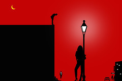 Forbidden Fruit (Danny Shrode) Tags: red woman lamp silhouette graphicart digitalart minimalism creative ~themagicofcolours~x